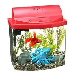 Aqueon 17773 Mini Bow 2-1/2 Desktop Aquarium Kit, Red