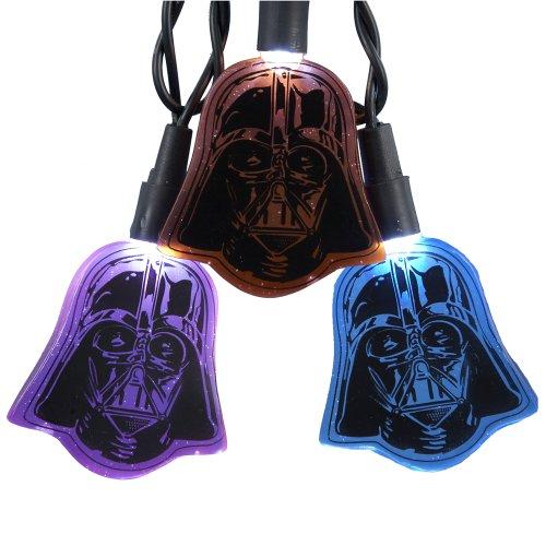 Kurt Adler UL 10-Light LED Multi Darth Vader Flat Helmet Light Set