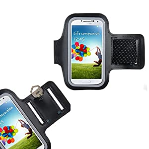 IDACA Noir Armband Brassard Sport pour Samsung Galaxy S4 IV i9500 Android Jogging Gym