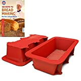 Silicone Bread and Loaf Pan Set of 2 Red, Nonstick, Commercial Grade Plus Homemade Bread Making Recipe Ebook
