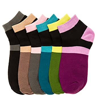 Women's (12 Pairs) Everyday Low Cut Patterned Socks -Color Block