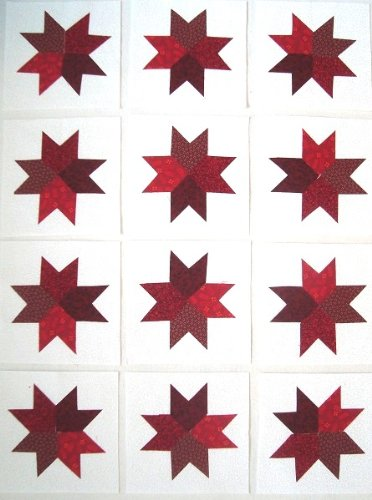 12 Applique Red Star Quilt Blocks 6.5 Inch Squares