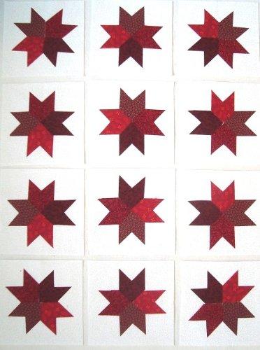 12 Applique Red Star Quilt Blocks 6.5 Inch Squares