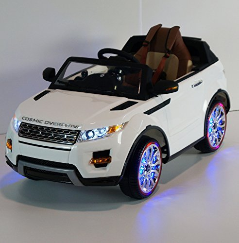 12v Ride on Car Range Rover Evoque Style, Toy for Kids, Boys and Girls with Music, Leather Seat, LED Wheels Lights - White (Rc Range Rover Evoque compare prices)
