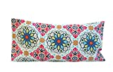 Aromatherapy Cotton Eye Pillow - 4.5 x 9 - Organic Lavender Chamomile Flax - Removable Washable Cover - mosaic abstract geometric white blue red silver pink