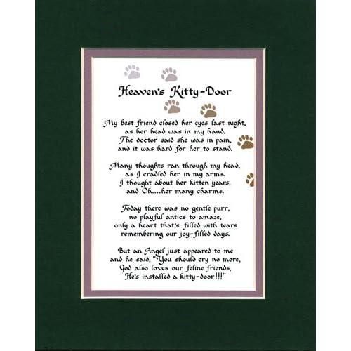 Amazon.com - Heaven's Kitty Door Female Memorial Wall Decor Poem Cat
