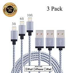 [3 Pack] Upfly Inc. 3FT 6FT 10FT Luxury Silver iPhone Lightning Cable iPhone 6 Cable for iPhone 6s, 6s Plus, iPhone6, 6 Plus, iPhone 5 ,5C ,5S, iPad Air, iPad Pro - Silver