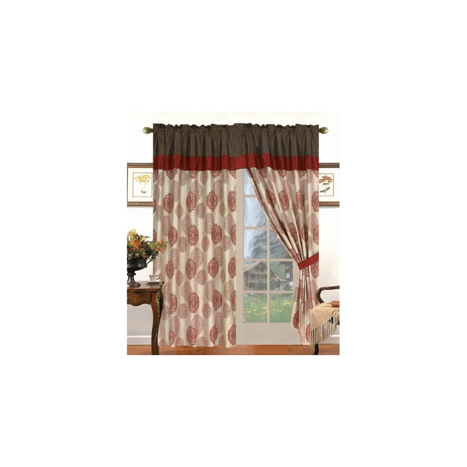Burgundy Medallion Flocked Curtain Set w/ Valance/Sheer