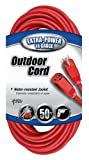 Coleman Cable 02408 14/3 SJTW Vinyl Outdoor Extension Cord, Red, 50-Feet