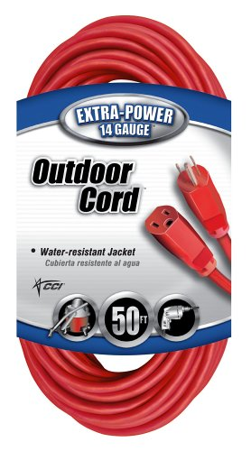 Coleman Cable 02408 14/3 SJTW Vinyl Outdoor Extension Cord, Red, 50-Foot
