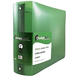 JAM Paper® Designders® - Plastic 3 Ring Binder - 3 Inch Width - Green - Sold Individually