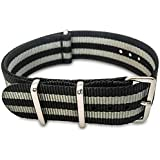 SharkNATO 22mm Black and Gray Striped Nylon NATO Strap Interchangeable Replacement Watch Strap - Black and Grey Bond Style