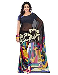 Admyrin Multi Colour Printed Saree With Blue Blouse Piece