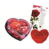 Skylofts Chocolate Valentine's Heart Box With A Cute Heart Soft Toy & A Love Card