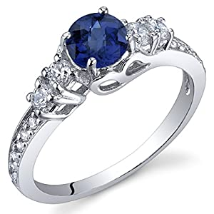 Revoni Enchanting 0.75 Carats Blue Sapphire Ring in Sterling Silver Size R,