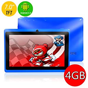 """7"""" inch Capacitive Touch Screen Allwinner A13 1.0GHz CPU (up to 1.5GHz maximumly)Processor Android 4.0.3 (Latest Ice Cream Sandwich OS) Tablet PC 4GB HDD 512MB WiFi MID Epad Flash Player 11.1 - Compatible with BBC iPlayer / Youtube / Facebook by Dx-mall (Blue)"""