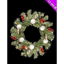 Decorazione di Natale ghirlanda bella pino innevato 12 pollici (DP107)