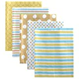 Luvable Friends Flannel Receiving Blankets, Yellow, 5 Pack