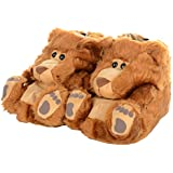 Ladies Teddy Bear Novelty Faux Fur Fun Cute Slippers With Soft Non Slip Soles
