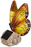 Novelty Outdoor Garden Solar Light. Butterfly On Rock Ornament