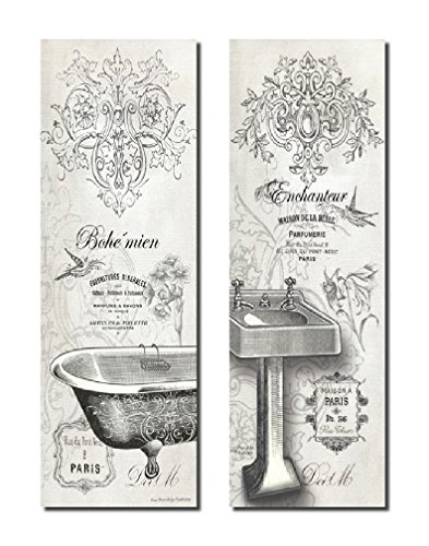 2 Vintage French Claw-foot Bathtub and Sink Panel Prints; Two 6x18in wood mounted Prints; Ready to hang! (Vintage French Decor compare prices)