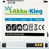 Akku-King Akku für HTC HD2, Touch HD 2, T8585, Firestone Leo - Li-Ion ersetzt 35H00128-00M BA S400 BB81100 - 1400 mAh