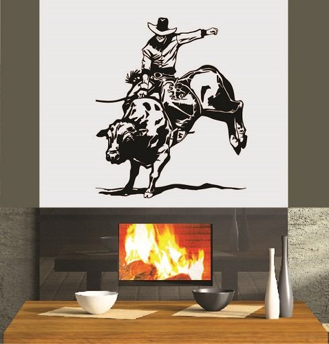 Wall Vinyl Decal Home Decor Art Sticker Rodeo Bull Rider Cowboy Western Sport Room Removable Stylish Mural Unique Design