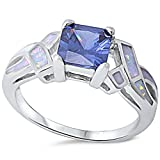 Princess Cut Simulated Tanzanite & Lab Created White Opal .925 Sterling Silver Ring Sizes 5-10