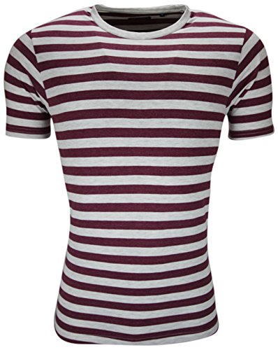 New Mens Striped T Shirt Stripe Top Short Sleeve Designer Style Tee Crew Neck (L, Burgundy)