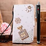 M LV HTC One X OneX Leather Diamond Bling crystal Folio Support Smart Case Cover With Card Holder & Magnetic Flip Horizontals - Winebottle Flower