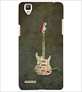 PrintDhaba Typographic Guitar D-3857 Back Case Cover for OPPO F1 (Multi-Coloured)