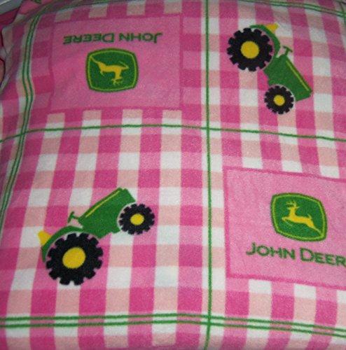 John Deere Pink Fleece Hand Tied Blanket Tractors Gingham Green Baby Pet Lap front-189517