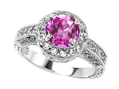 Original Star K(tm) 7mm Round Created Pink Sapphire Engagement Ring in .925 Sterling Silver Size 6