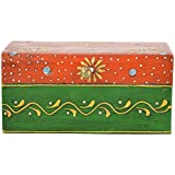 Rajasthani Colors Of Handicrafts Wood Hand Painted Rectangular Jewellery Box - (15.24 Cm X 10.16 Cm X 6.985 Cm...