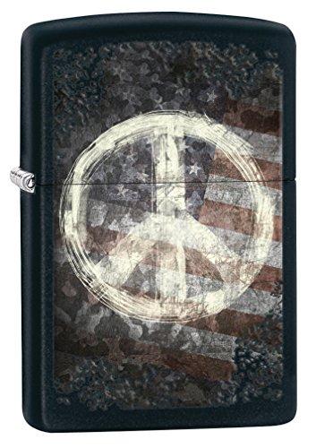 Zippo Peace American Flag Pocket Lighter, Black Matte