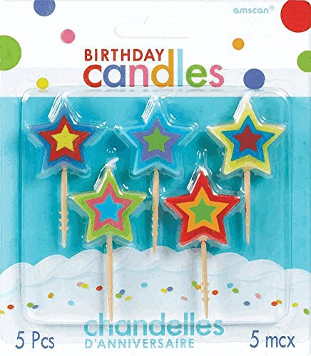 Amscan Star Toothpick Birthday Candle Set, Multicolor - 1