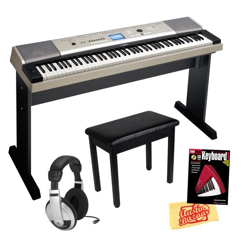 Yamaha Ypg-535 88-Key Portable Grand Keyboard Bundle With Padded Flip-Top Bench, Stand, Sustain Pedal, Power Supply, Headphones, Instructional Book, And Polishing Cloth