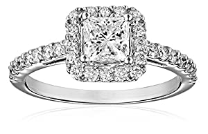 IGI-Certified 18k White Gold Princess-Cut Center Diamond Engagement Ring (1 5/8 cttw, H-I Color, SI1-SI2 Clarity), Size 6