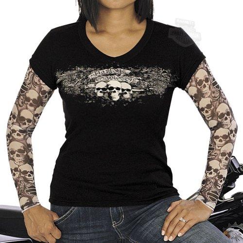 Harley-Davidson Womens Skull Scroll Tattoo Sleeves Black Long Sleeve Small