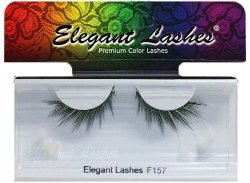 Elegant Lashes F157 Premium Green Blue Black White Feather False Eyelashes Halloween Dance Rave (White Feather Lashes)