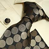 515Zhqpm8sL. SL160  H5002 NEW Designer Black Brown Polka Dots 100% Jacquard Woven Silk Tie Hanky Mens Necktie and Cuff Links Cufflinks and Handkerchiefs Set H5002