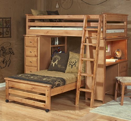 Twin loft bed w chest amp desk ends in caramel the best bunk bed