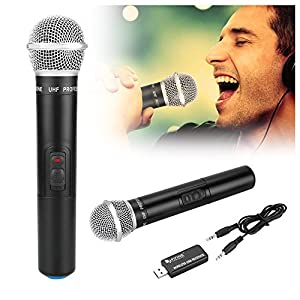 Wireless Microphone, Fifine® USB Microphone UHF 926.5MHz with Sound Card For Conference, Karaoke, Chatting, Recording, YouTube, Family Party, Children Spell Learning
