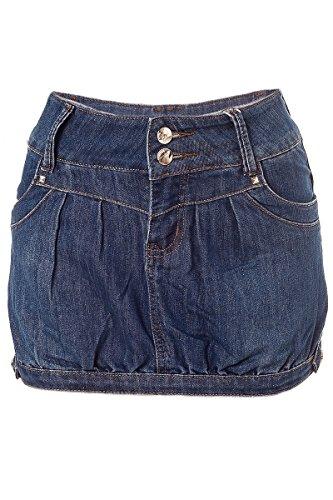 Jeans Minirock Tulpen Form mit Riegel (38, Blau)