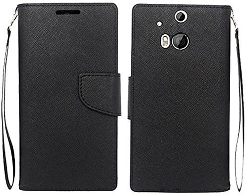 Mylife (Tm) Deep Black {Flat Color Design} Faux Leather (Card, Cash And Id Holder + Magnetic Closing) Slim Wallet For The All-New Htc One M8 Android Smartphone - Aka, 2Nd Gen Htc One (External Textured Synthetic Leather With Magnetic Clip + Internal Secur