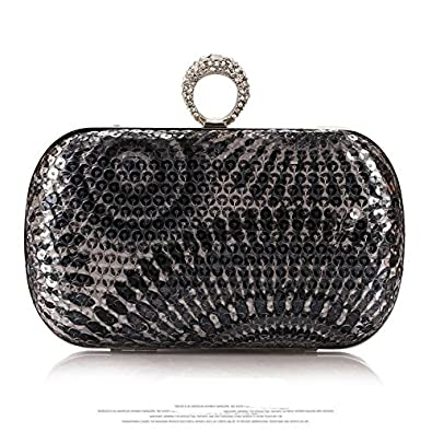Stylish Beautiful One Ring Rhinestone Peacock Pattern Studded Knuckle Duster Mini Sequin Womens Evening Clutch/Purse/Hard Case/Handbag/Evening Bag/Hard Shell Clutch for Lady with Shining Metal Strap - Various Designs-Grey