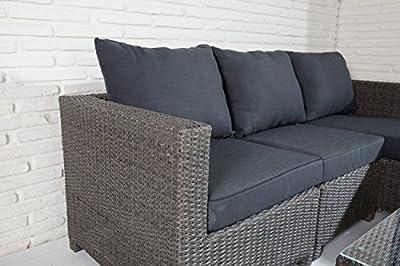 Hochwertige Polyrattan Sitzgruppe Grau inkl Kissen Stahl Gestell Lounge Garten Sofa von MO Living auf Gartenmöbel von Du und Dein Garten