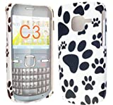 FOR NOKIA C3-00 STYLISH DOG FOOT PRINT HARD BACK PROTECTION CASE COVER