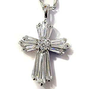 "Simulated Diamond CZ Cross Silver Tone Pendant with 18""Necklace P5400"