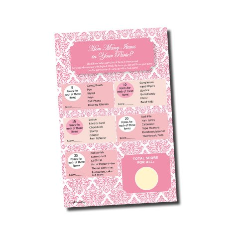 What's In Your Purse Game - Bridal Shower - Baby Shower - Pink Damask Games (50-sheets)